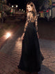 A Line Black Prom Dress Modest Beautiful Cheap Lace Long Prom Dress #VB1906