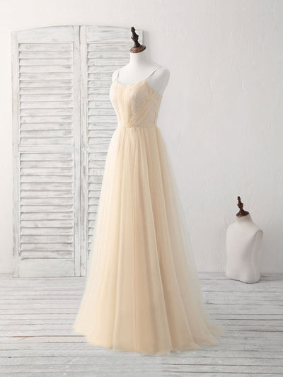 2018 Tulle Prom Dress Modest Cheap Yellow Long Prom Dress #VB1911 - DemiDress.com