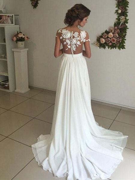 A Line Cheap Wedding Dress Lace Beach Wedding Dress # VB1913