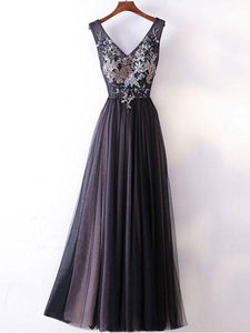 Chic A Line V Neck Prom Dress Modest Cheap Black Long Prom Dress #VB1914