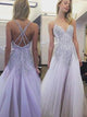 2018 Tulle Prom Dress Modest Lavender Long Prom Dress #VB1918 - DemiDress.com