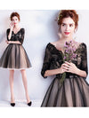 2018 Cheap Homecoming Dress V Neck Black Lace Homecoming Dress # VB2003