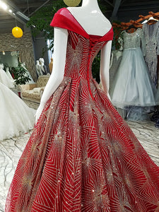 A Line Prom Dress Simple Modest Elegant Red Long Prom Dress #VB2008