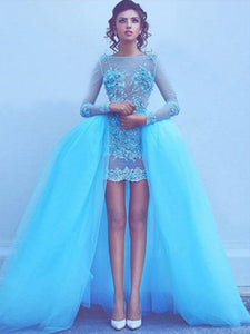 Blue Prom Dress With Sleeves Modest Lace Cheap Long Prom Dress #VB2014