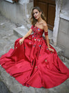 Chic A Line Prom Dress Modest Elegant Cheap Long Red Prom Dress #VB2019