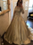 Gold A Line Prom Dress Modest Elegant Lace Long Prom Dress #VB2023