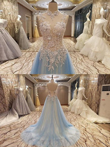 Chic A Line Prom Dress Modest Cheap Lace Long Prom Dress #VB2036