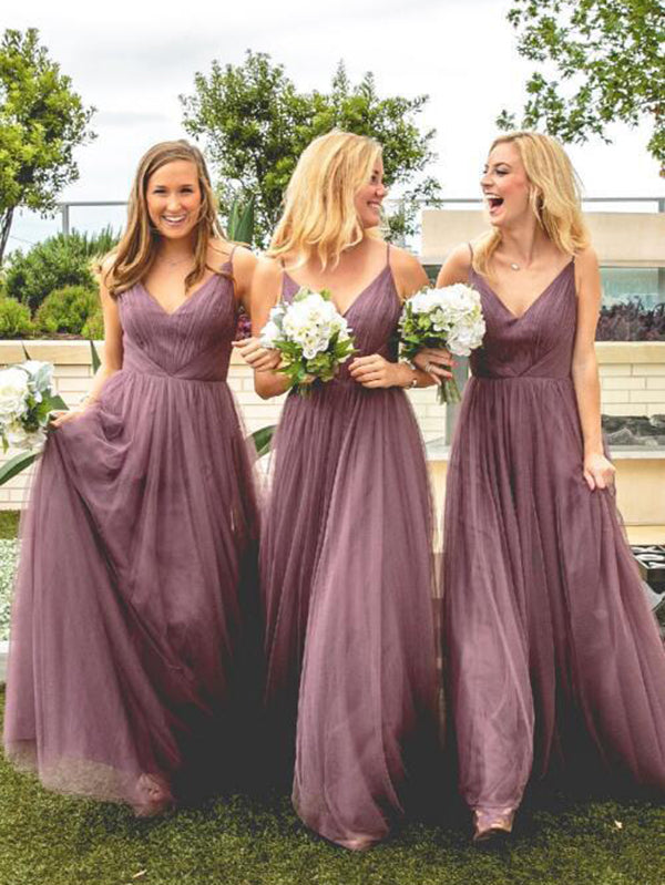 Purple A Line Bridesmaid Dresses Cheap Long Bridesmaid Dresses #VB2045