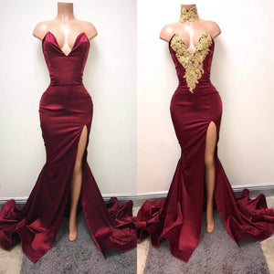 2018 Mermaid Prom Dress Modest Burgundy Lace Long Prom Dress #VB2046 - DemiDress.com
