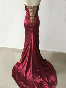 2018 Mermaid Prom Dress Modest Burgundy Lace Long Prom Dress #VB2046