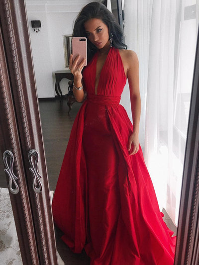 Red Simple Prom Dress Modest Cheap Long Halter Prom Dress #VB2051