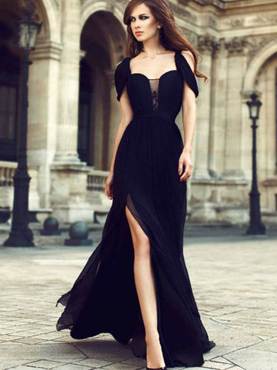 2018 Chic Black Prom Dress Modest Cheap Long Prom Dress #VB2055 - DemiDress.com