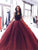 Ball Gown Burgundy Prom Dress Modest Cheap Long Prom Dress #VB2057
