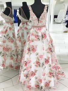 Chic Pink Prom Dress Vintage Floral Cheap Long Prom Dress #VB2058