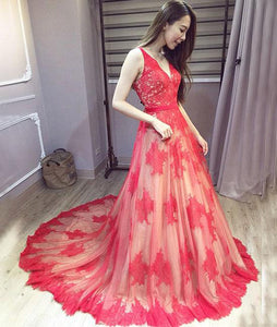 Chic Red Prom Dress Lace Cheap Long Prom Dress #VB2062