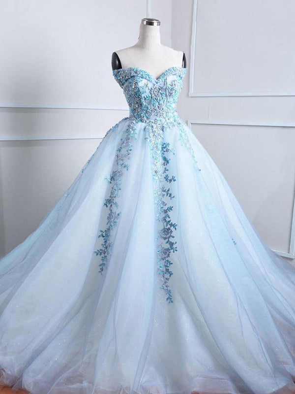 2018 Ball Gown Prom Dress Off The Shoulder Blue Long Prom Dress #VB2066