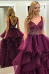 2018 Burgundy Prom Dress Plus Size Tulle Long Prom Dress #VB2067 - DemiDress.com