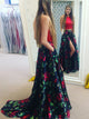 2018 Two Piece Red Prom Dress Floral Cheap Long Prom Dress #VB2070 - DemiDress.com