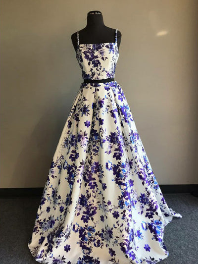 2018 Two Piece Prom Dress Floral Cheap Long Prom Dress #VB2071 - DemiDress.com