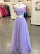 2018 Two Piece Prom Dress Lace Lavender Cheap Long Prom Dress #VB2072 - DemiDress.com