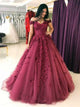 Ball Gown Burgundy Prom Dress Lace Cheap Long Prom Dress #VB2075