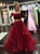 Two Piece Burgundy Prom Dress Cheap Long Prom Dress #VB2080