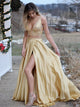 Two Piece Gold Prom Dress Cheap Long Prom Dress #VB2081