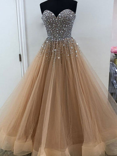 2018 A Line Prom Dress Plus Size Tulle Long Prom Dress #VB2090