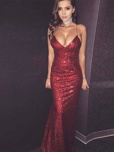 2018 Burgundy Prom Dress Sequins Cheap Long Prom Dress #VB2096 - DemiDress.com