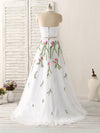 2018 Two Piece Prom Dress White Embroidery Long Prom Dress #VB2098 - DemiDress.com