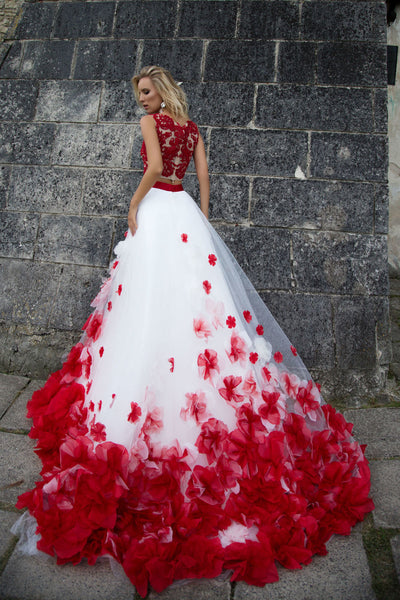 Two Pinece Wedding Dress White And Red Floral Wedding Dress # VB2101