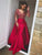 Mermaid V Neck Prom Dress Red Cheap Long Prom Dress #VB2105