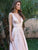 2018 A Line V Neck Prom Dress Pink Cheap Long Prom Dress #VB2109 - DemiDress.com