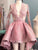 2018 Pink Long Sleeve Homecoming Dress V Neck Cheap Homecoming Dress # VB2117 - DemiDress.com
