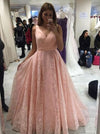 2018 A Line Pink Prom Dress Lace Cheap Long Prom Dress #VB2118 - DemiDress.com