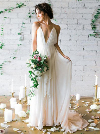 2018 Vintage Chiffon Wedding Dress Cheap V Neck Wedding Dress # VB2123