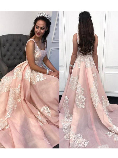 2018 A Line Pink Prom Dress With Straps Cheap Long Prom Dress #VB2130 - DemiDress.com