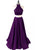 2018 Two Piece Purple  Prom Dress Cheap Long Prom Dress #VB2131 - DemiDress.com
