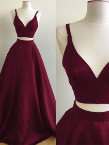 2018 Two Piece Burgundy Prom Dress Cheap Long Prom Dress #VB2135 - DemiDress.com