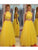 2018 Two Piece Yellow Prom Dress Cheap Long Prom Dress #VB2137 - DemiDress.com
