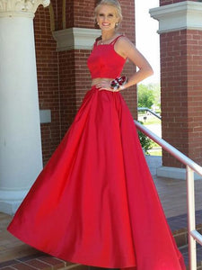 Chic Two Piece Red Prom Dress Cheap Long Prom Dress #VB2140