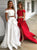 Two Piece Red Prom Dress Cheap Long Lace Prom Dress #VB2141