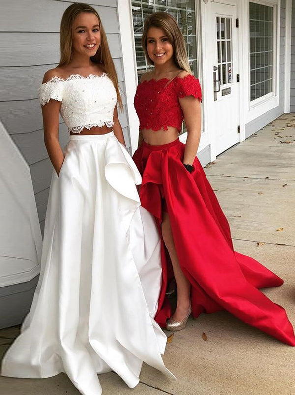 2b656690fa7 Two Piece Red Prom Dress Cheap Long Lace Prom Dress  VB2141
