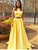 2018 Two Piece Yellow Prom Dress Cheap Long Prom Dress #VB2146 - DemiDress.com