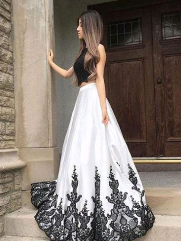2018 Two Piece Lace Prom Dress White Cheap Long Prom Dress #VB2147