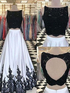 2018 Two Piece Lace Prom Dress White Cheap Long Prom Dress #VB2147 - DemiDress.com