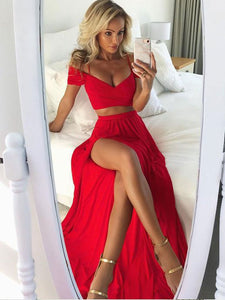 2018 Two Piece Red Prom Dress Chiffon Cheap Long Prom Dress #VB2149 - DemiDress.com