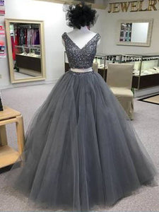 2018 Two Piece Silver Prom Dress Tulle Cheap Long Prom Dress #VB2060 - DemiDress.com