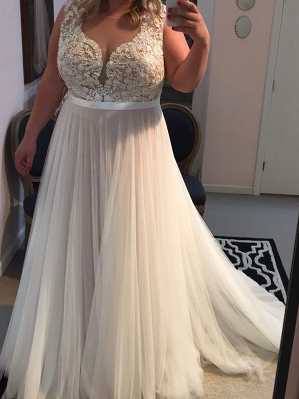 2018 Plus Size Ivory Prom Dress Tulle Cheap Long Prom Dress #VB2152
