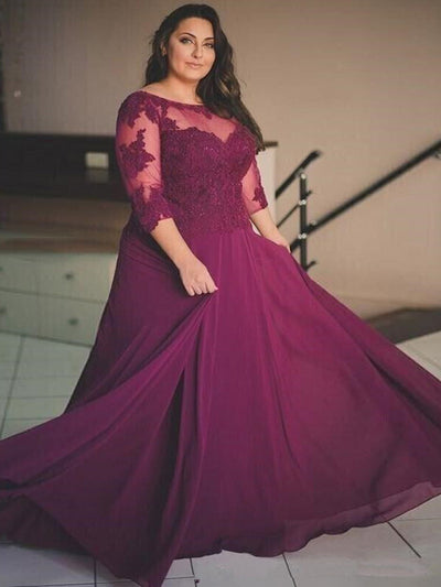 2018 Plus Size Burgundy Prom Dress Chiffon Cheap Long Prom Dress #VB2154